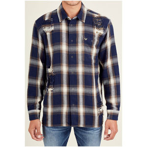 True Religion Men's Long Sleeve Plaid Shirt